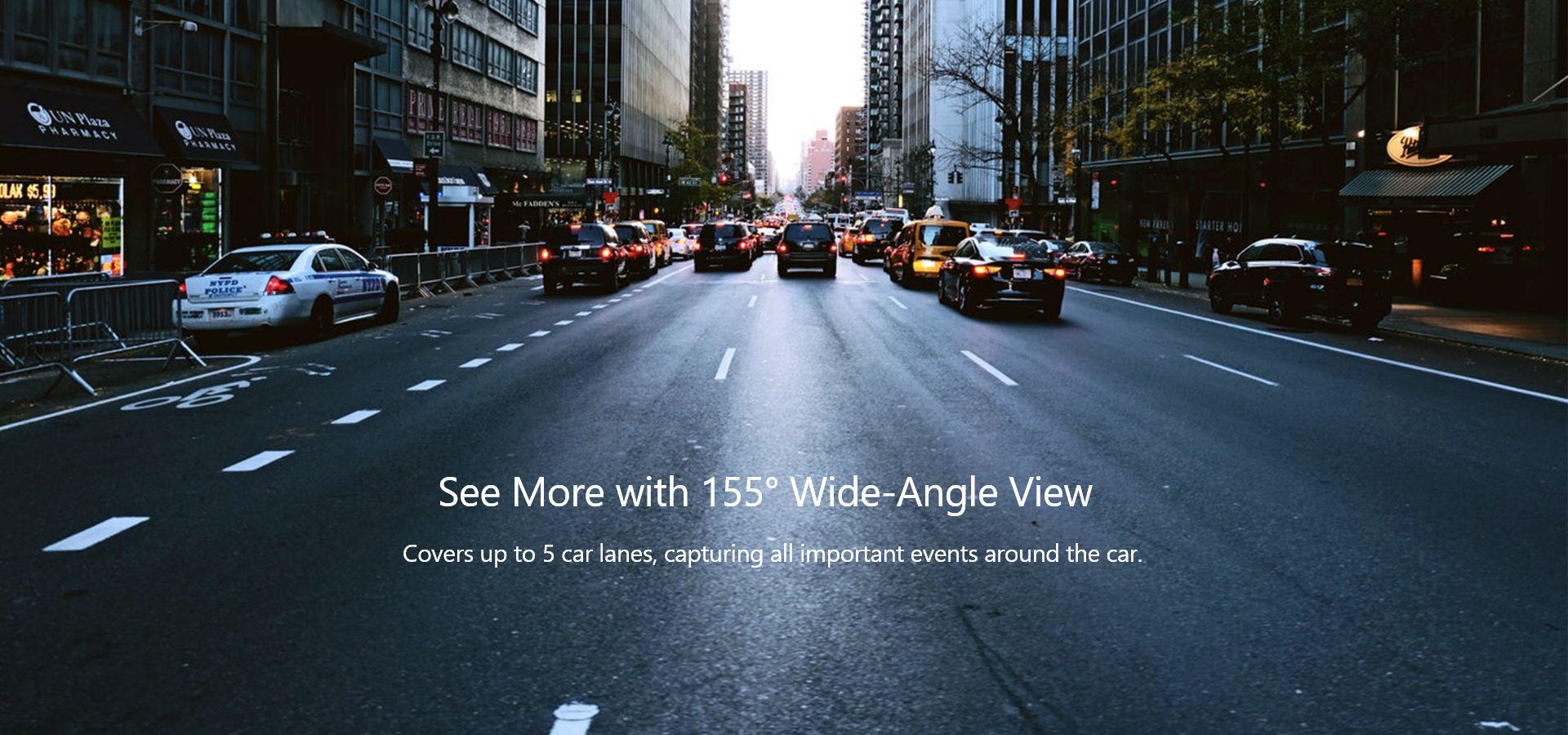 VAVA Dash cam với camera góc rộng 155 độ