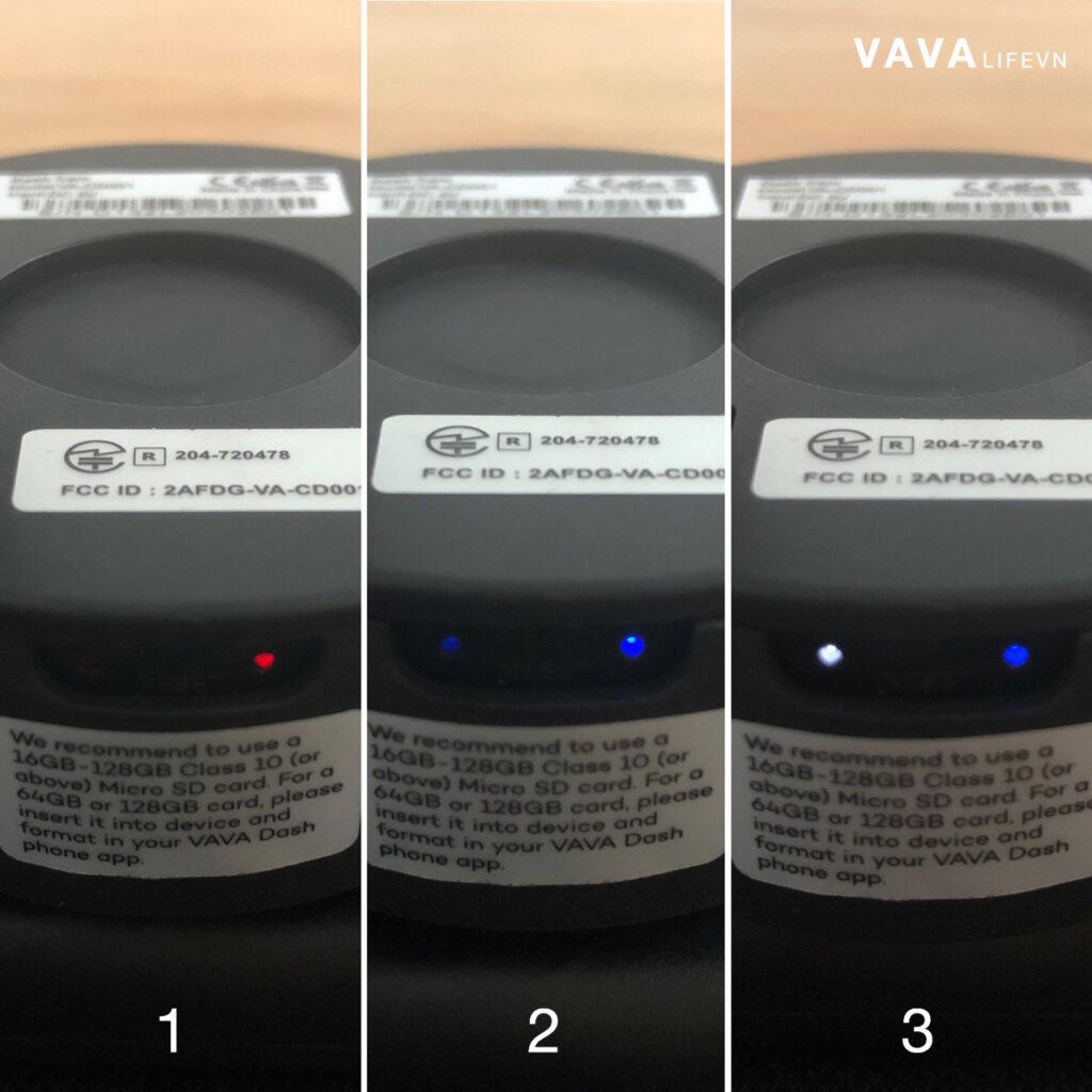 Các trạng thái đèn Leds VAVA Dash Cam